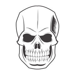 skull tattoo face gothic death evil icon. flat and isolated design. Vector illustration