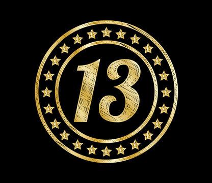 13 golden stars design