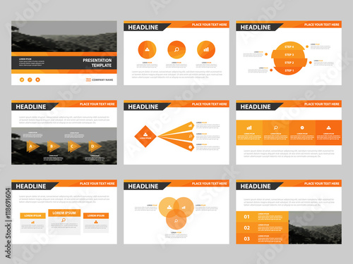 Orange Abstract presentation templates, Infographic elements ...
