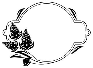 Round label with black and white decorative flowers silhouettes. Copy space.Vector clip art.