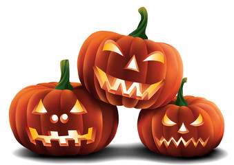Three Halloween Pumpkins Isolated