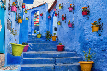 Blue staircase and wall decorated with colourful flowerpots, Chefchaouen medina in Morocco. Wall mural