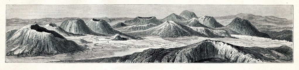 Volcanic formations of Auvergne (from Meyers Lexikon, 1895, 7 vol.)