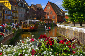 Colmar - Haut-Rhin, Alsace, France. Exterior of old houses on a canal in the Petite Venise