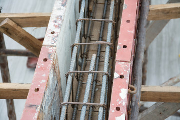 metal foundation  in construction site