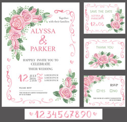 Wedding invitation card set.Watercolor pink roses,numbers