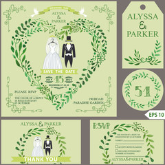Wedding invitation.Green branches heart, clothes