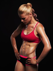 athletic girl.muscular fitness woman, trained female body.healthy lifestyle. dope topic