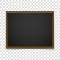 Vector blackboard frame isolated on transparent background. Vect