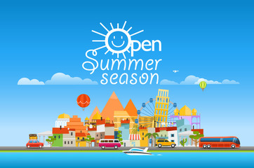 Open sunner season concept. Asia cityscape Vector travel illustr