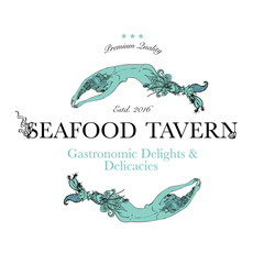 Seafood restaurant and seafood menu identity - Logo with mermaids with ornate tails. Vector Illustration