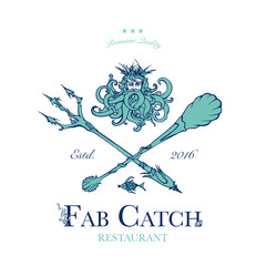 Seafood restaurant and seafood menu identity - Logo with God of Sea Poseidon and sea-style cutlery. Vector Illustration