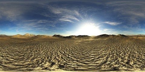 rocky desert. Environment map. HDRI map. Equirectangular projection. Spherical panorama.