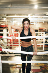 Fit woman at boxing ring