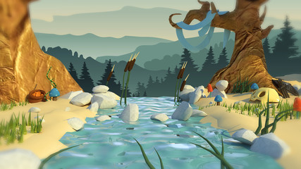 3d illustration of a fairy rivers and forests. horizontal backgr