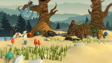 3d illustration of a fairy-tale forest. horizontal background