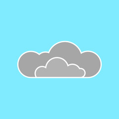Cloud on blue background. Flat icon.