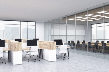 Office cubicles and conference room