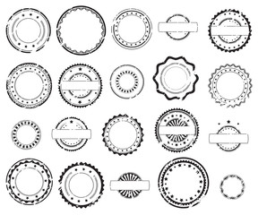 Obraz Grunge rubber stamps and stickers icons, set, graphic design elements, black isolated on white background, vector illustration. - fototapety do salonu