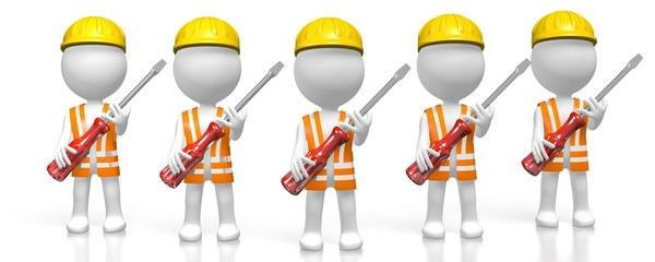 3D workers/ workmen with screwdrivers