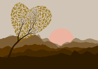 Silhouette of forest and mountain with brown background