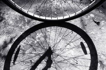 Front wheel of a bicycle against shadow