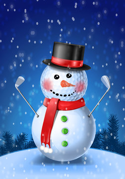 Snowman golfer with irons in black hat on golf ball. Vector illustration on blue background with snowflakes
