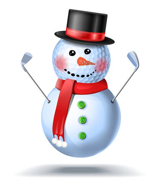 Snowman golfer with irons in black hat on golf ball. Vector isolated illustration on white background