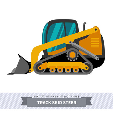 Classic track skid steer loader earth mover machine. Modern design vector isolated illustration