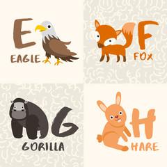 Cute Animal Alphabet Set : Letter E,F,G,H : Vector Illustration