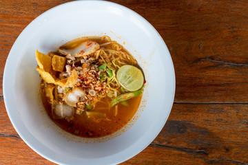 Egg noodle with tom yum soup