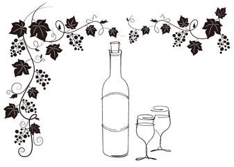 ワインボトルとぶどうとグラス素材素材。モノクロ。ベクター
