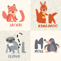 Cute Animal Alphabet Set : Letter J,K,L,M : Vector Illustration