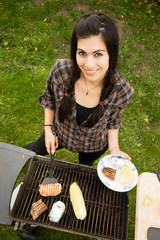 Pretty Woman Smiling Cooking Steaks Barbecue Backyard Food