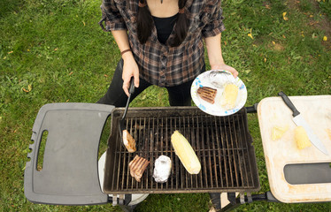Woman Torso Cooking Steaks Barbecue Backyard Food Grill
