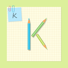 The alphabet consists of colored pencils. Letter K. Vector illustration