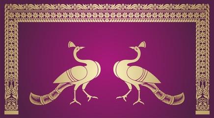 peacock, feathers ,wedding card design, royal India
