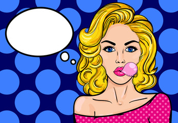 Pop-art blond woman with gum on a blue vintage background. Vector illustration with bubble for text