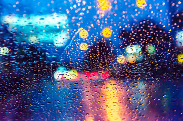window, glass, rain, background, bokeh, light, street, blue, night, surface, drop, .. wet,