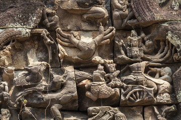 Close up of a pediment with bas-reliefs in Banteay Samre hindu temple, Angkor, Cambodia.