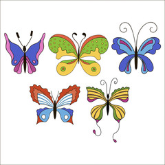 Set of cute cartoon colored butterflies isolated on white backgr