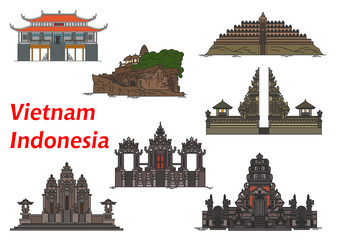 Travel landmarks of Vietnam and Indonesia