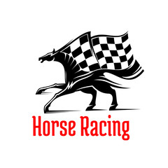 Galloping racehorse symbol for equine sport design
