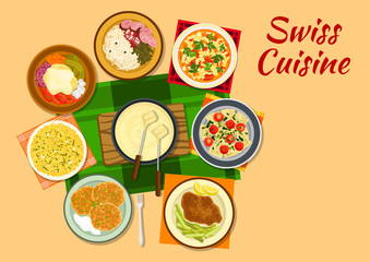 Swiss cuisine traditional dishes flat icon