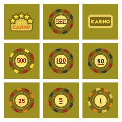 assembly flat icons Casino poker chips