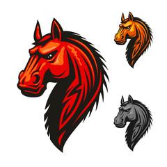 Horse stallion head and mane vector icon