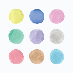 Watercolor hand painted circle shape.