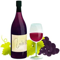 赤ワイン・ボトルとグラス