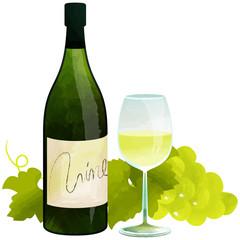白ワイン・ボトルとグラス