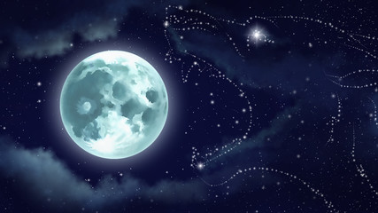 Digital illustration of a starry wolf Hati, who swallows the moon.